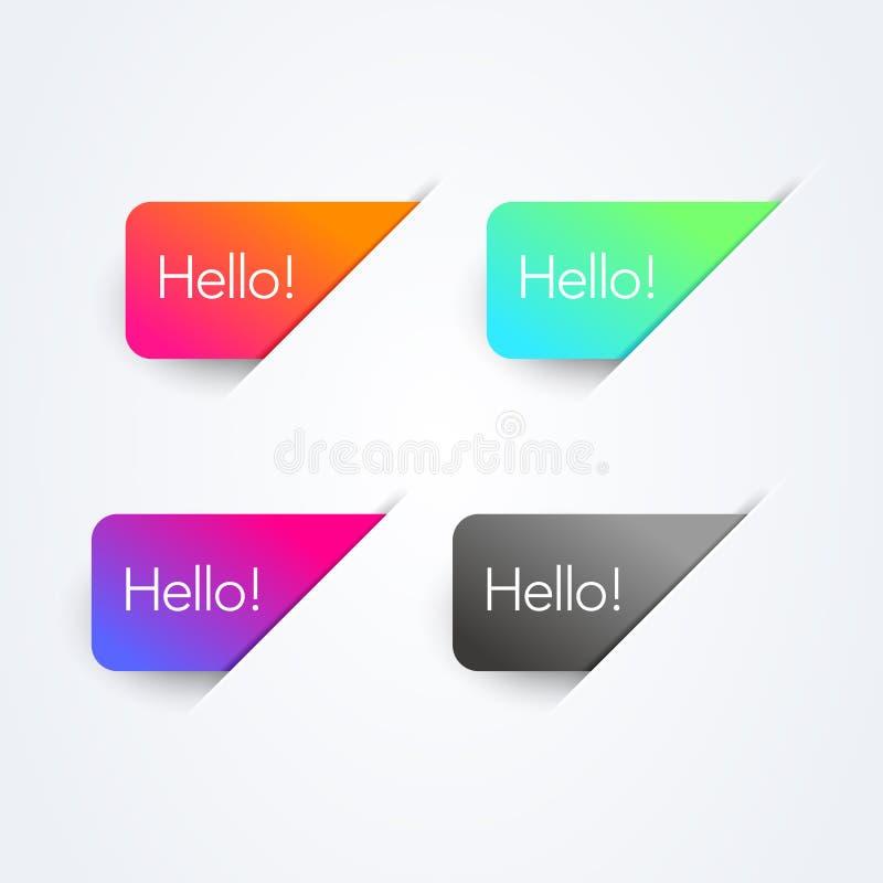 Vector los elementos cuadrados coloridos abstractos del ejemplo con el lugar para los colores elegantes modernos del und del text stock de ilustración