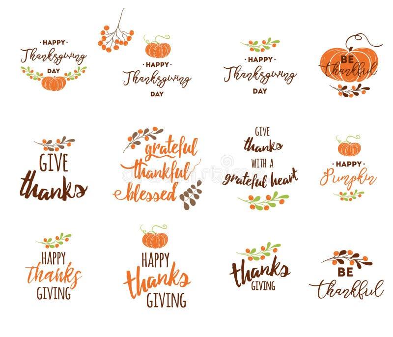 Vector los elementos de las letras de la acción de gracias para las invitaciones o las tarjetas de felicitación festivas ilustración del vector