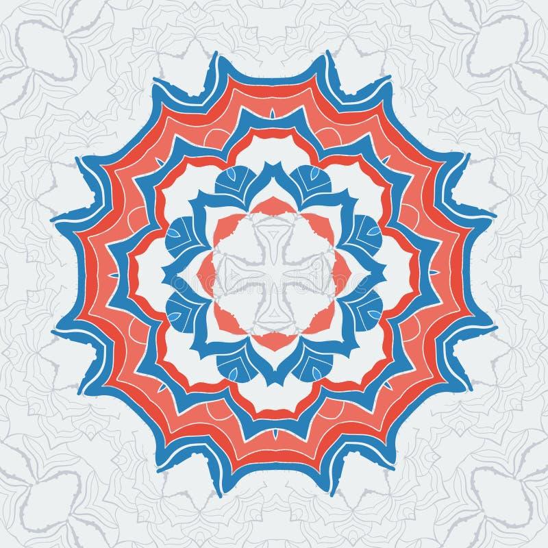 Vector los elementos decorativos dibujados mano en estilo indio tribal Modelo estilizado para el cartel de la meditación de la yo ilustración del vector