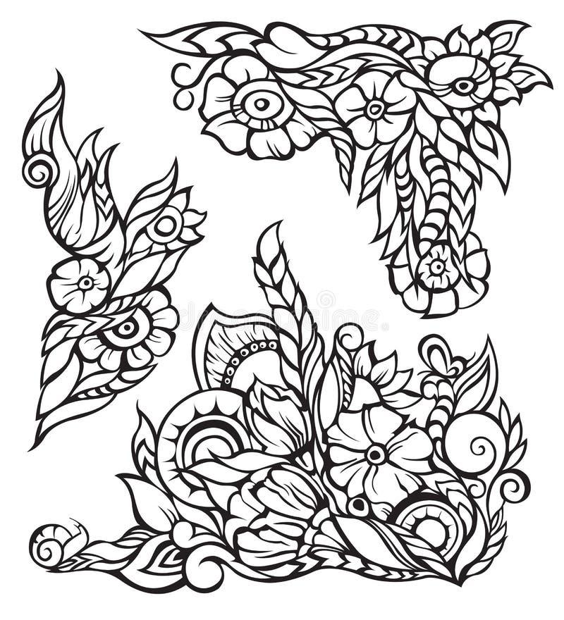 Vector los elementos florales para la frontera, contorno negro libre illustration