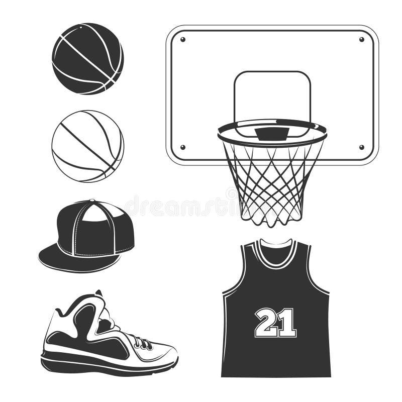 Vector los elementos, iconos para las etiquetas del club del baloncesto stock de ilustración