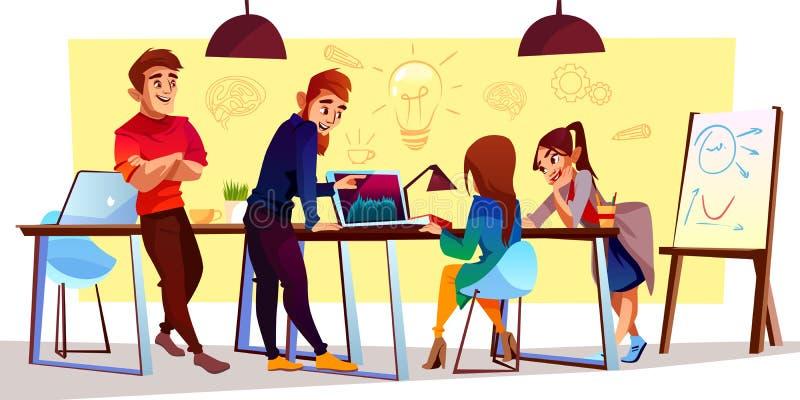 Vector a los freelancers de la historieta, diseñadores en el centro coworking ilustración del vector
