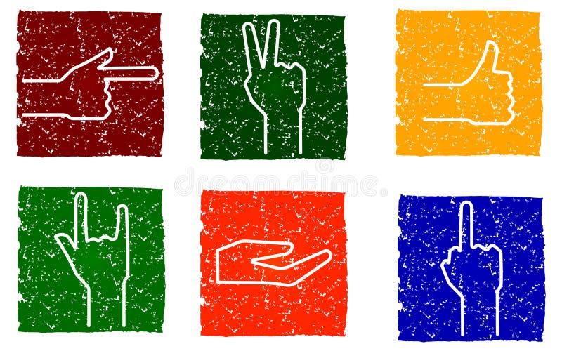 Vector los gestos multicolores alegres cuadrados de los iconos del grunge con las manos, símbolos para su diseño libre illustration