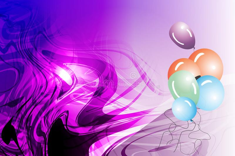 Vector los globos abstractos con el efecto luminoso ahumado y el fondo ondulado sombreado violeta, ejemplo del vector