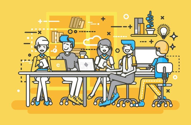 Vector a los hombres de negocios de los hombres del ejemplo de mujeres de los colegas de los empleados que negocian trabajo en eq ilustración del vector