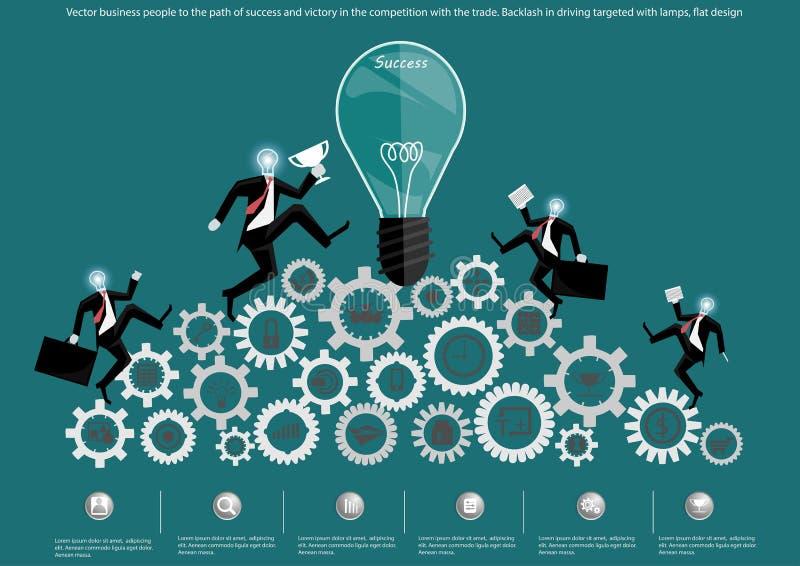Vector a los hombres de negocios a la trayectoria del éxito y de la victoria en la competencia con el comercio Contragolpe en la  stock de ilustración