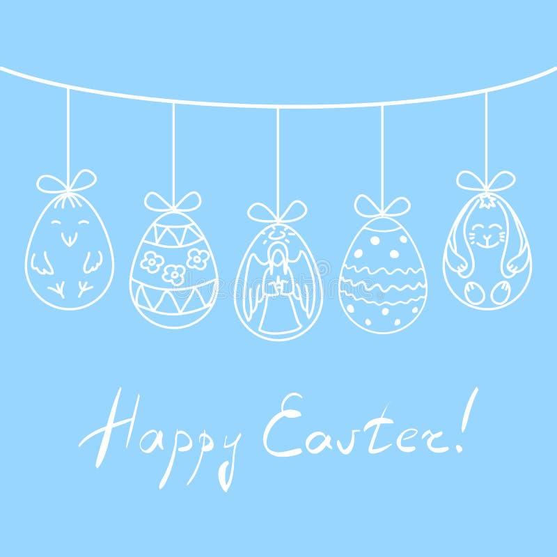 Vector los huevos de Pascua del ejemplo con el ángel dibujado mano, el pollo, el conejo y los ornamentos abstractos, suspendidos  libre illustration