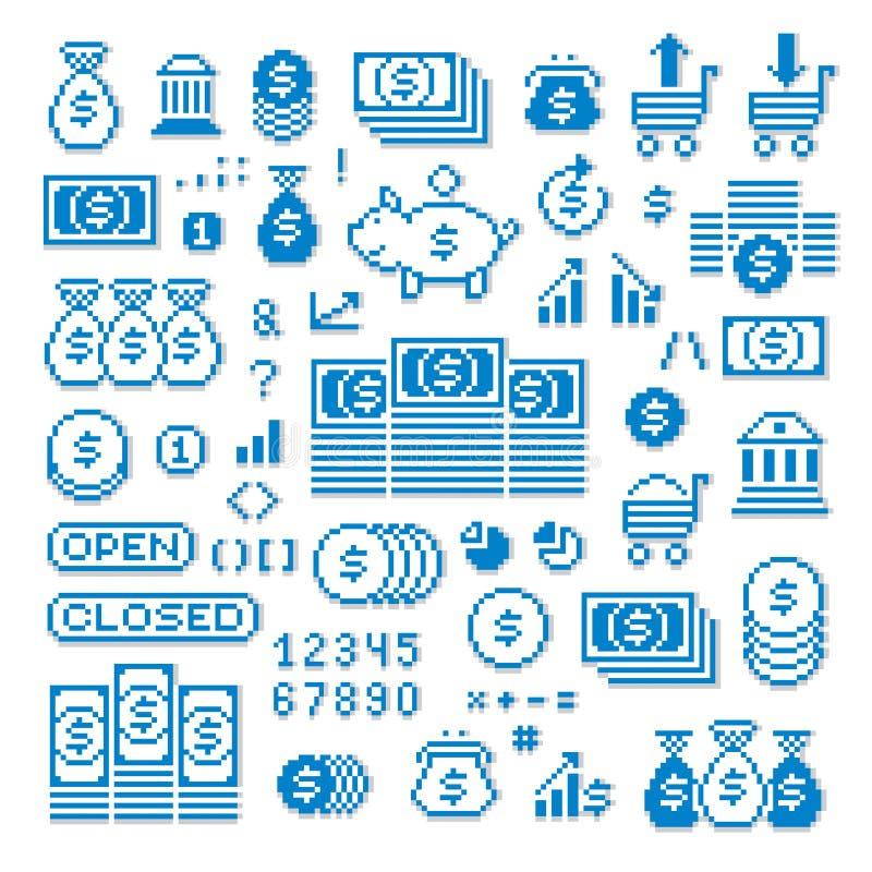 Vector los iconos aislados, colección del pixel de elementos del gráfico 8bit stock de ilustración