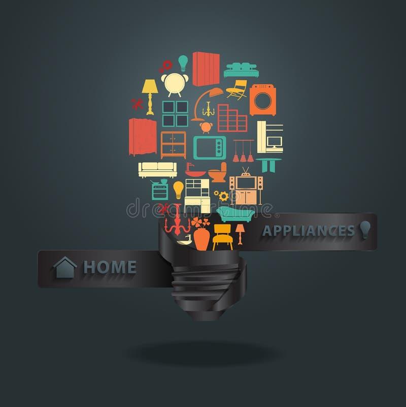 Vector los iconos de los aparatos electrodomésticos con idea creativa de la bombilla libre illustration
