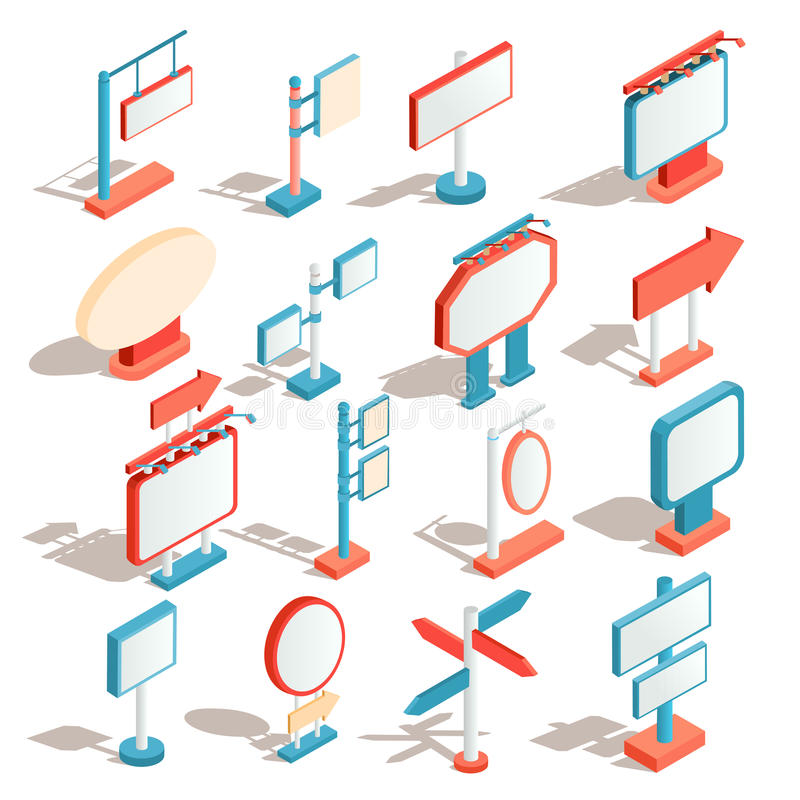 Vector los iconos isométricos de carteleras, haciendo publicidad de banderas, las señales de tráfico, señales de dirección stock de ilustración