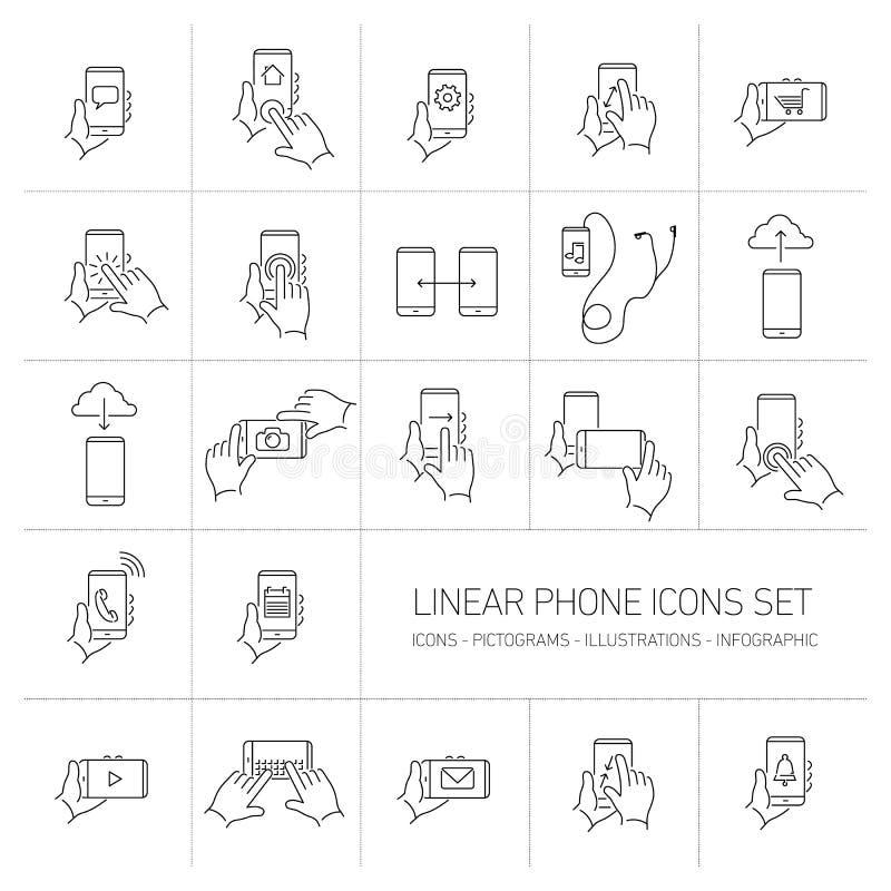 Vector los iconos lineares del teléfono y de la tecnología fijados con gestos de mano ilustración del vector