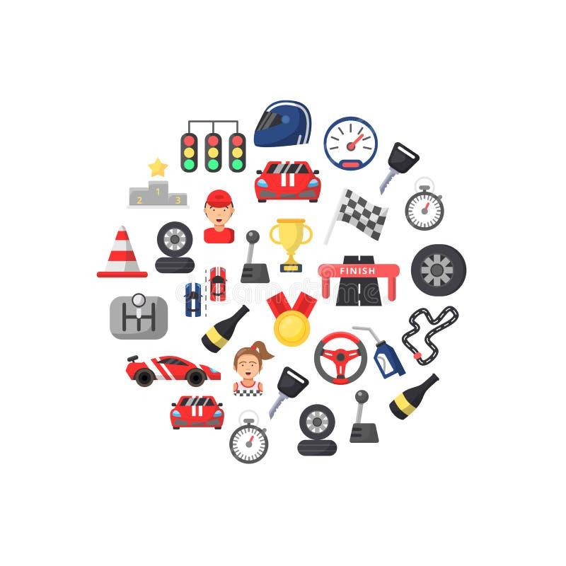 Vector los iconos planos de las carreras de coches en el ejemplo de la forma del círculo stock de ilustración