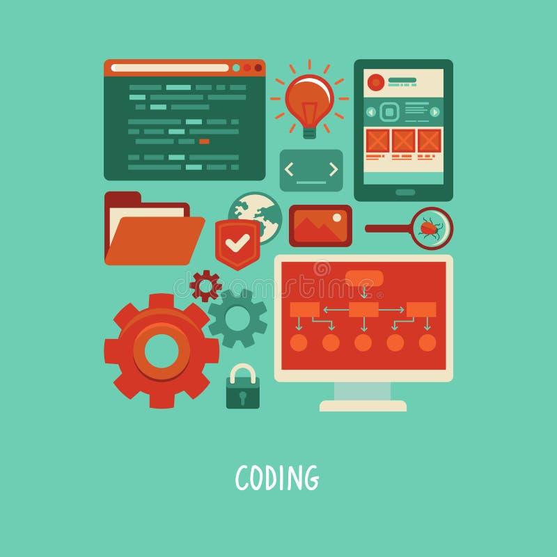 Vector los iconos planos - desarrollo y codificación del sitio web stock de ilustración
