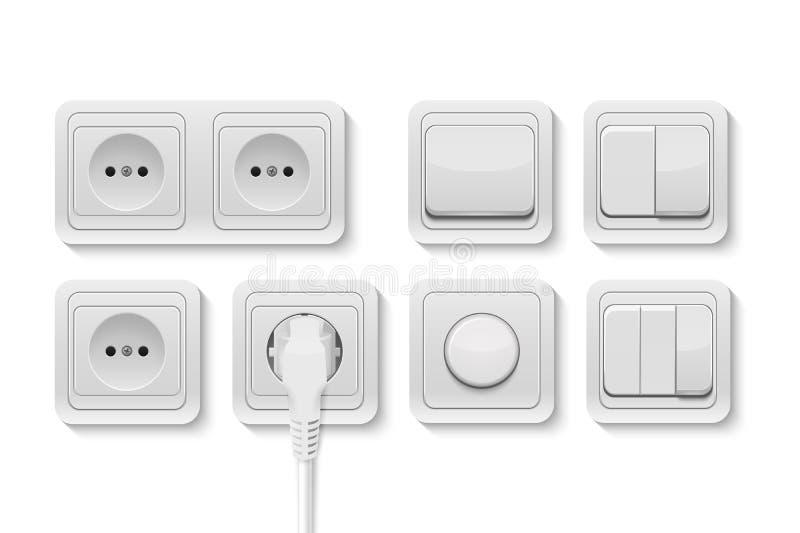Vector los interruptores realistas y el zócalo blancos fijados en el fondo blanco Plantilla del diseño en EPS10 stock de ilustración