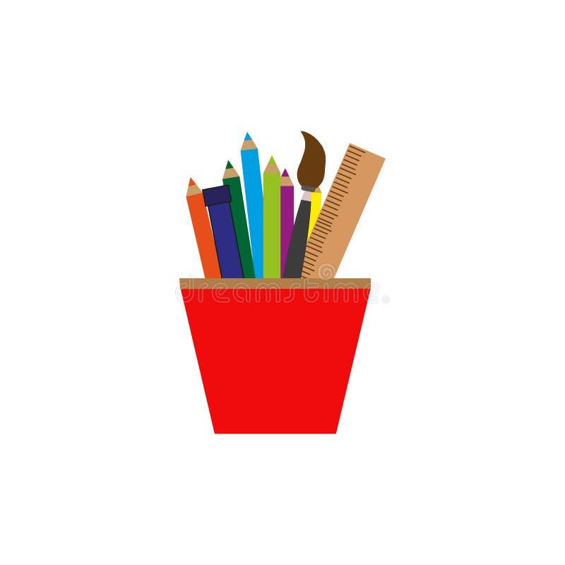 Vector los lápices y la regla en el icono colorido de cristal sobre el fondo blanco, plano aislado stock de ilustración