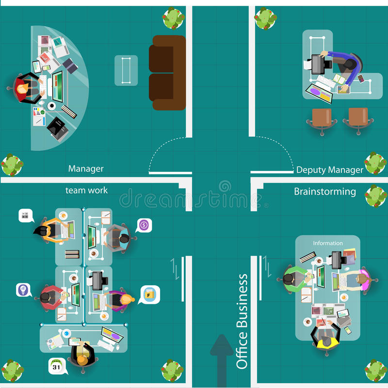 Vector los lugares de trabajo del negocio de la oficina y el diseño de plan para el trabajo del equipo libre illustration