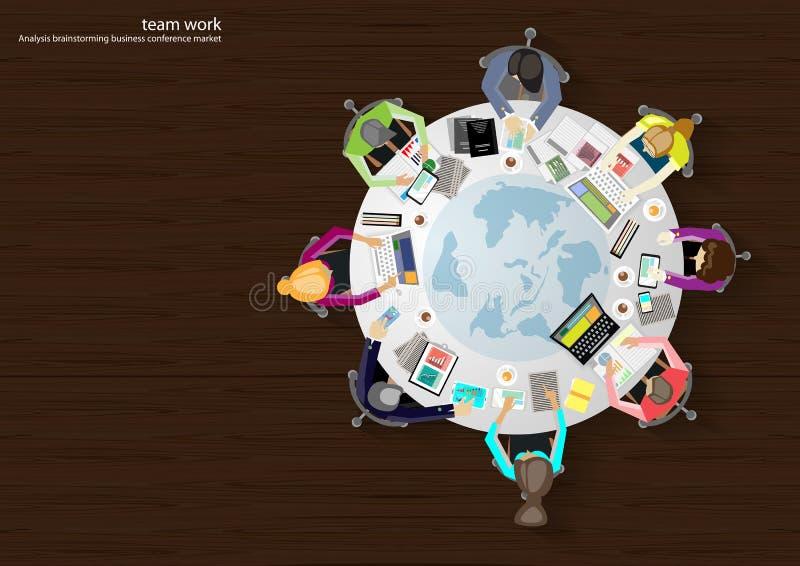 Vector los lugares de trabajo del negocio, trabajo en equipo, reunión de reflexión, análisis de negocio, plan de márketing, un ma stock de ilustración