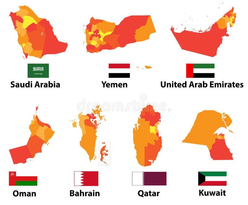 Vector los mapas y los países árabes de las banderas con de las fronteras de las regiones de las divisiones administrativas ilustración del vector