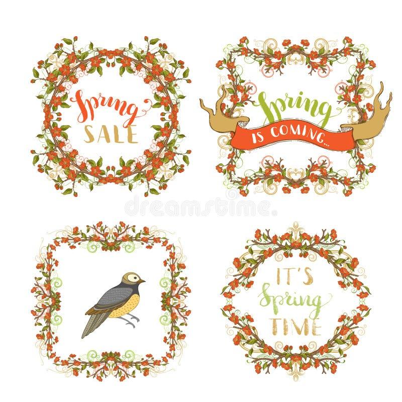 Vector los marcos adornados de la primavera aislados en el fondo blanco stock de ilustración