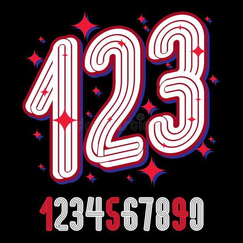 Vector los números enrrollados artísticos, números modernos fijados hechos con tri ilustración del vector