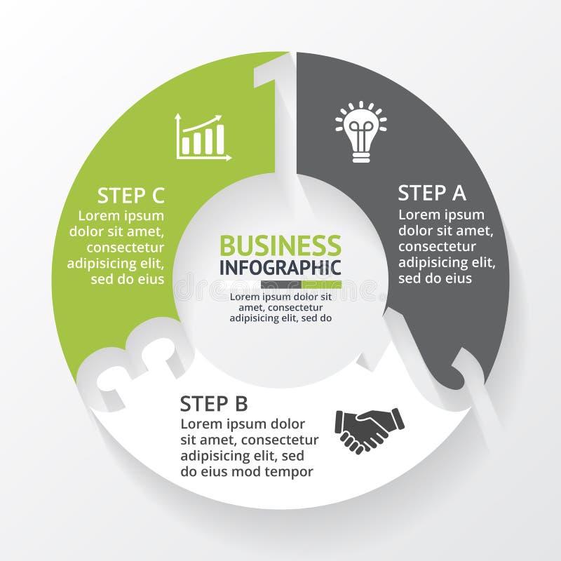 Vector los números infographic, diagrama, gráfico, presentación, carta de las flechas del círculo Concepto del ciclo de negocio c libre illustration