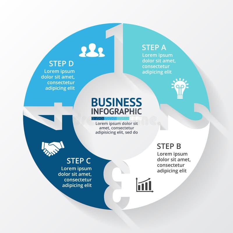 Vector los números infographic, diagrama, gráfico, presentación, carta de las flechas del círculo Concepto del ciclo de negocio c ilustración del vector