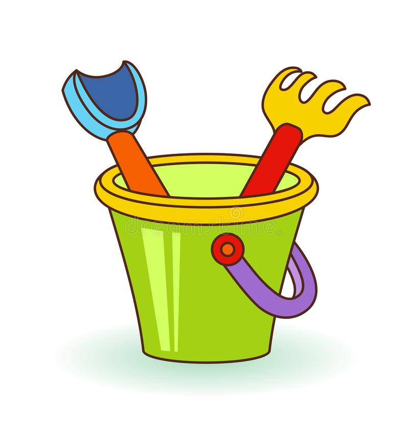 Vector a los niños cucharada, rastrillos y cubo del ejemplo del bebé con la arena Juguetes de la playa stock de ilustración