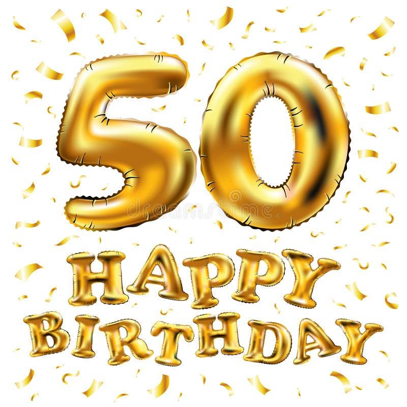 Vector los 50.os globos del oro de la celebración del feliz cumpleaños y los brillos de oro del confeti diseño del ejemplo 3d par stock de ilustración