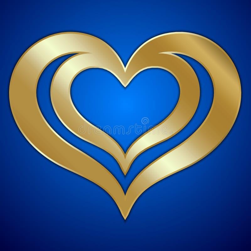 Vector los pares abstractos de corazones de oro en azul stock de ilustración