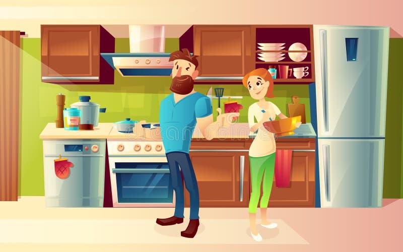 Vector los pares felices de la historieta en una cocina moderna ilustración del vector