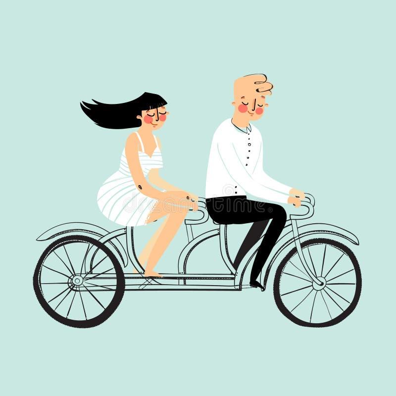 Vector los pares felices de los caracteres del hombre joven y de la mujer del diseño plano que montan la bicicleta en tándem aisl ilustración del vector