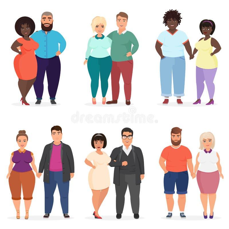Vector los pares felices y sonrientes de la historieta del tamaño extra grande de la gente Hombre y mujer Gente gorda Curvy, gord libre illustration