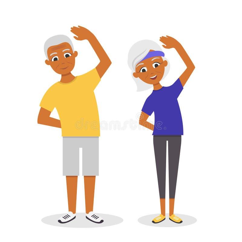 Vector los pares mayores afroamericanos activos, felices y sanos libre illustration