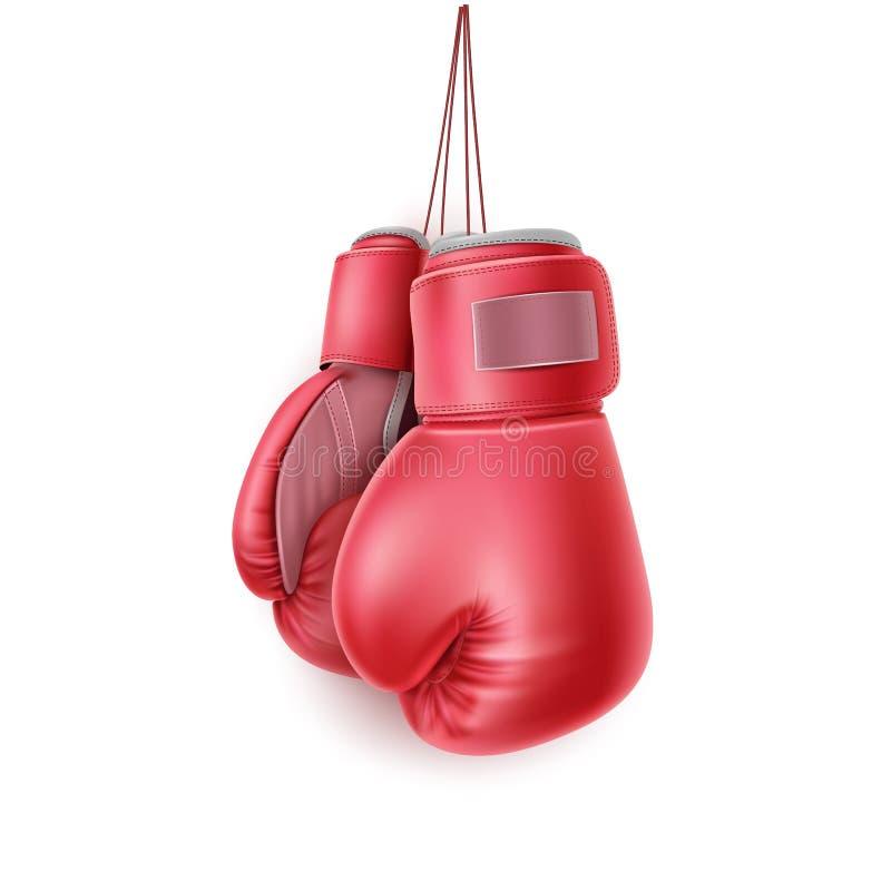 Vector los pares rojos de guante de boxeo en el cordón realista ilustración del vector