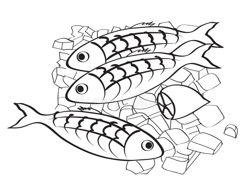 Vector los pescados frescos y el limón en el hielo stock de ilustración