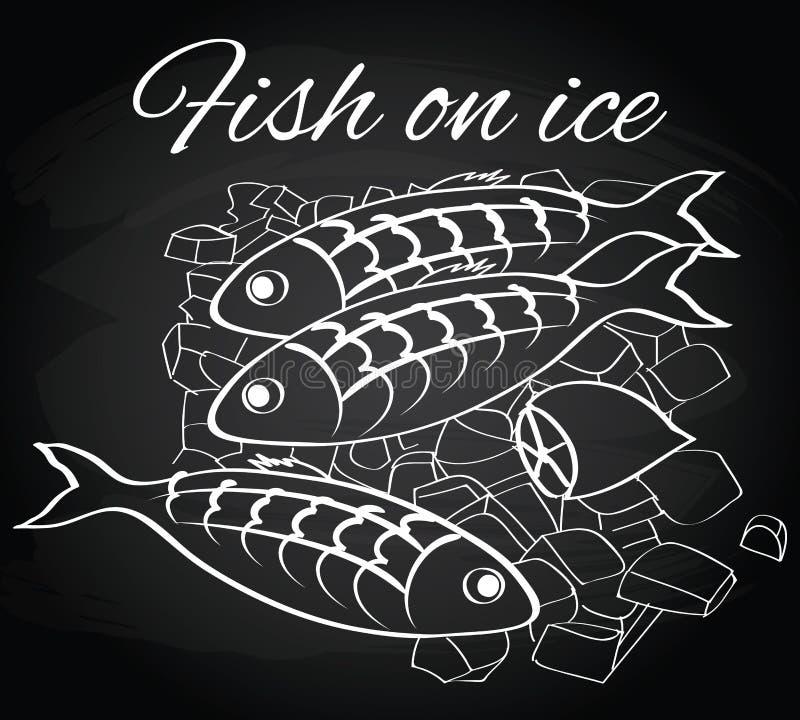 Vector los pescados frescos y el limón en el hielo libre illustration