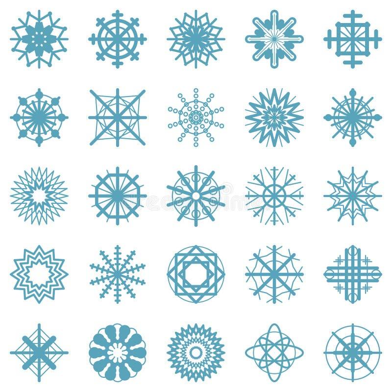 Vector los símbolos determinados de los copos de nieve azules - simplemente iconos del invierno en diseño plano - aislados en el  ilustración del vector