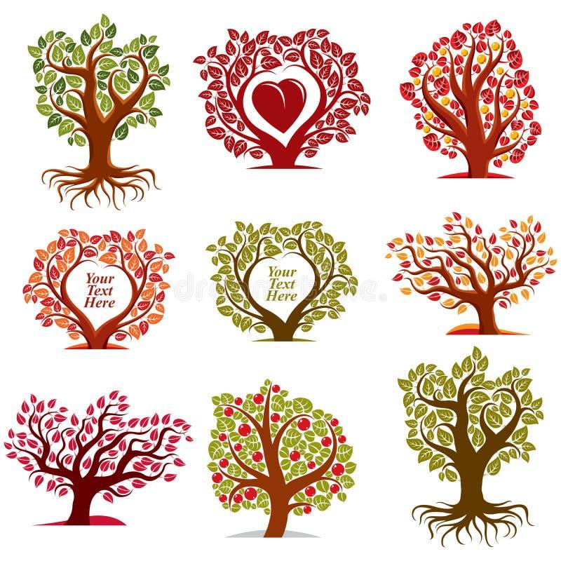 Vector los símbolos estilizados con el corazón rojo, árboles con sabor a fruta de la naturaleza del arte libre illustration