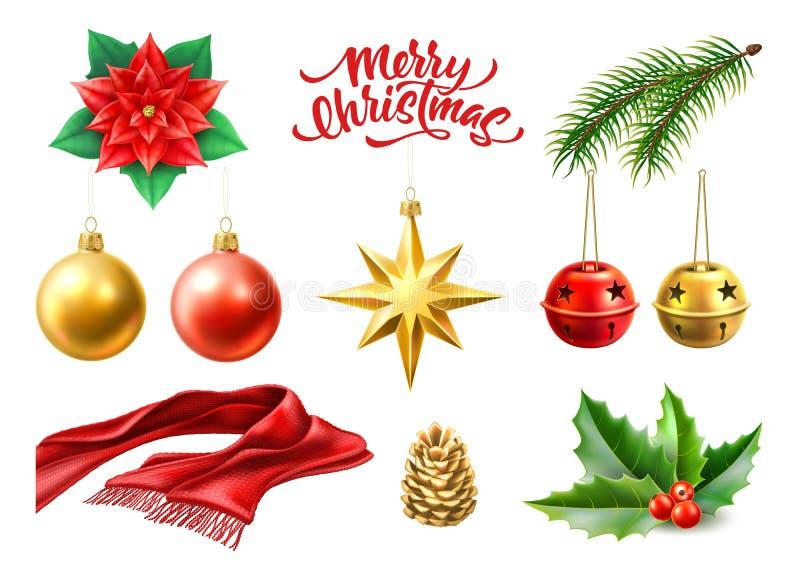 Vector los símbolos realistas de la Feliz Navidad, juguetes fijados ilustración del vector