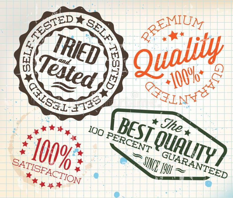 Vector los sellos retros de la vendimia en el papel ajustado viejo stock de ilustración