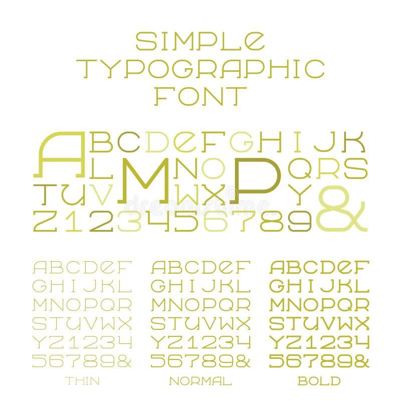 Vector los tipos simples del alfabeto tres del trazo de pie de mayúsculas en estilo plano ilustración del vector