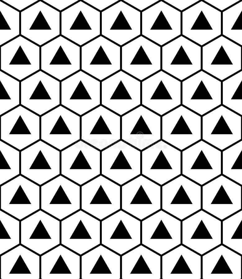 Vector los triángulos sagrados inconsútiles modernos del hexágono del modelo de la geometría, extracto blanco y negro stock de ilustración