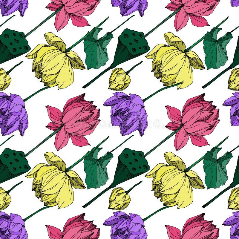 Vector Lotus floral botanical flower. Black and white engraved ink art. Seamless background pattern. Vector Lotus floral botanical flower. Wild spring leaf vector illustration