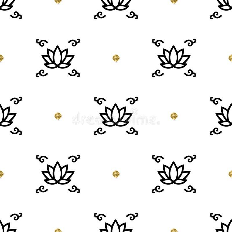 Vector lotus seamless pattern, yoga background. Flower lotos line icons. Vector lotus seamless floral pattern, yoga background, Flower lotus thin line art icons royalty free illustration