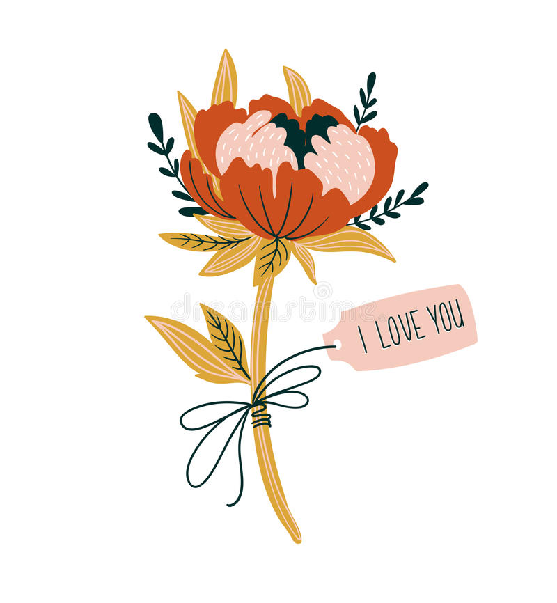 Vector love card with peony and tag `I love you`. Vector hand drawn element for valentine`s day. stock illustration