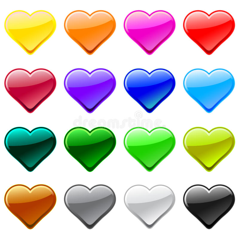 Download Vector Love Heart Button Icons, Samples Stock Photos - Image: 11290663