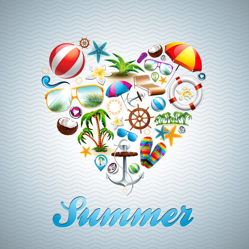 Free Vector Love Heart Summer Holiday Design Set On Wav Royalty Free Stock Photography - 40426347