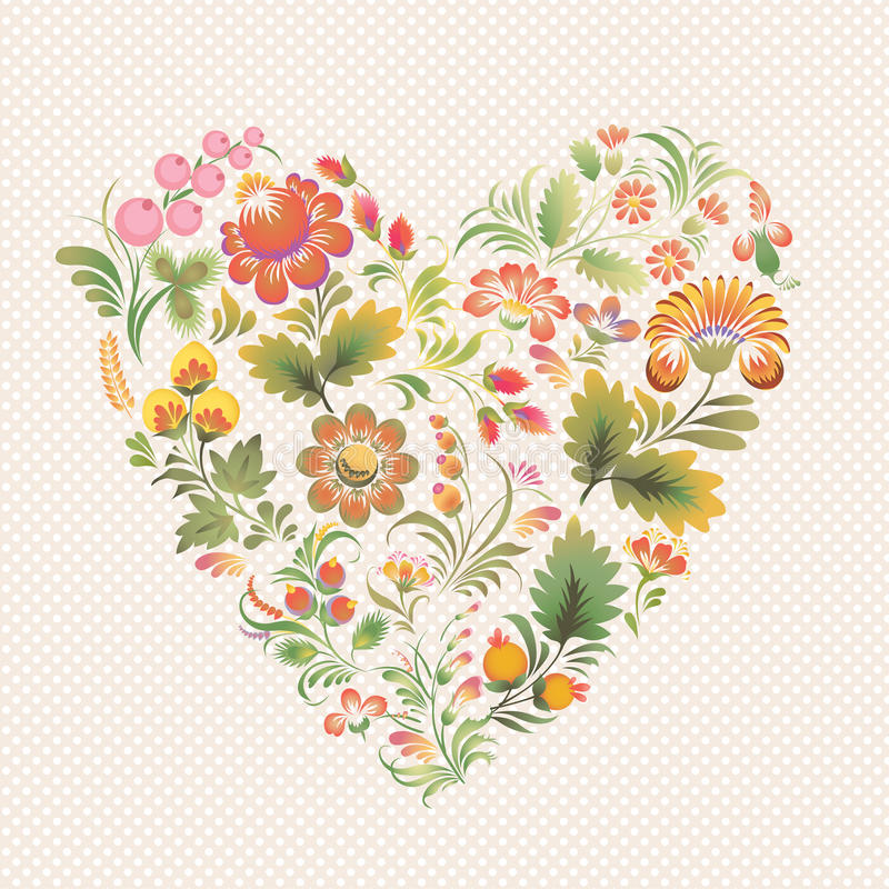 Vector love heart in Ukrainian folk style. Vector love heart in style of Petrykivka painting (Ukrainian folk art). Ethnic flowers in soft colors on the light vector illustration