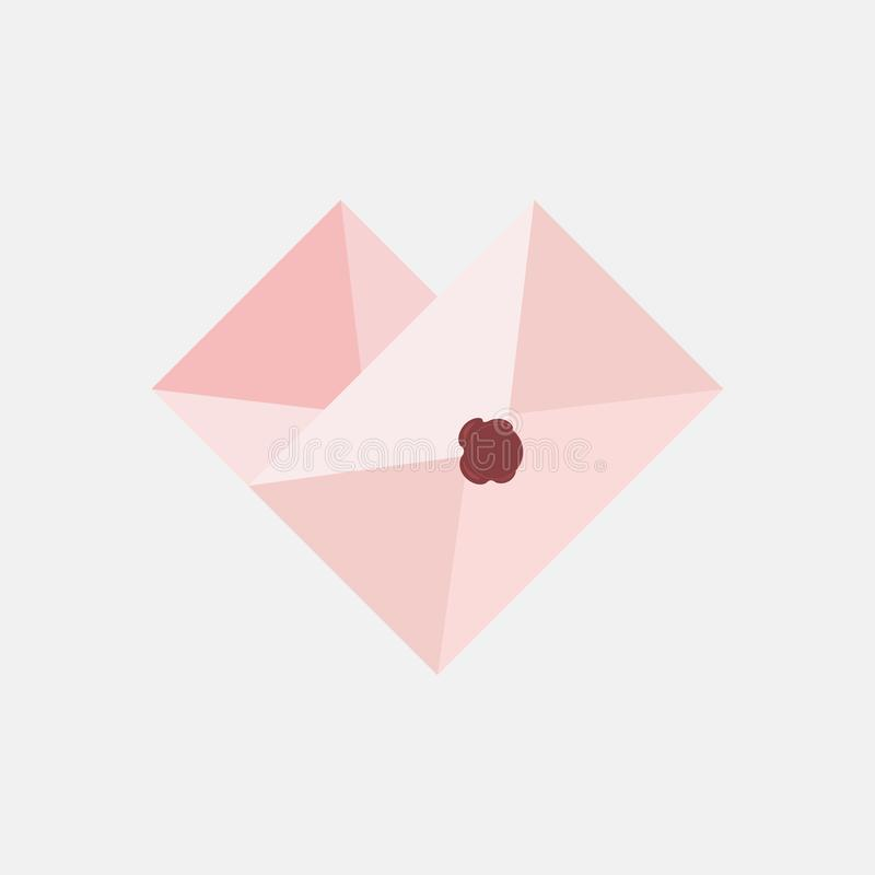 Vector love icon pink envelope. In the envelope is a card with a heart shaped mail in flat style vector illustration