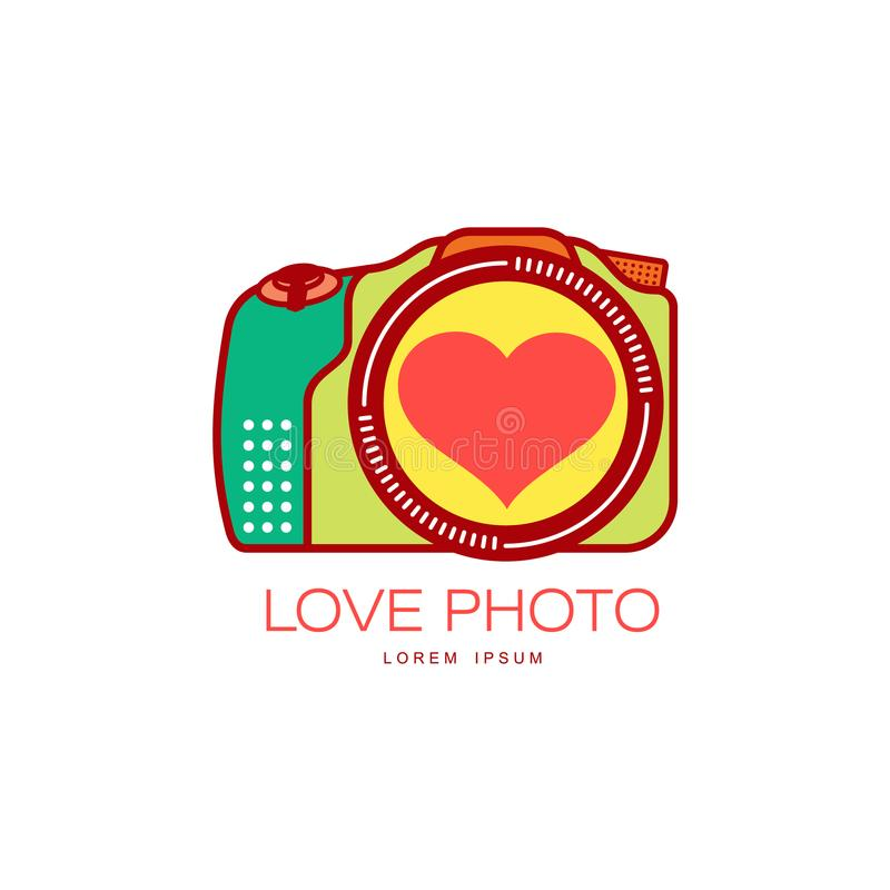 Vector love photo camera icon isolated. Vector love photo camera colored icon pictogram with heart in lens. Flat cartoon isolated illustration on a white vector illustration